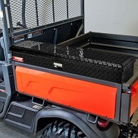 Side Mount Tool Box for Kubota RTV-X900, RTV-X1100, RTV-X1120 - Diamond Plate with Black Powder Coat Finish